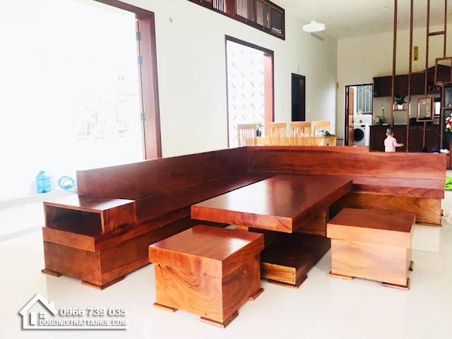 Sofa Góc Nguyên Khối Gỗ Sao - Bàn ghế gỗ nguyên tấm tại Huế