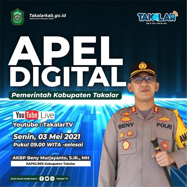 Kapolres Takalar AKBP Beny Murjayanto  pimpimpin apel Digital secara serentak di Mapolres Takalar
