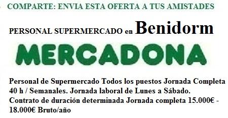 Benidorm, Alacat, Alicante. Lanzadera de Empleo Virtual. Oferta Mercadona