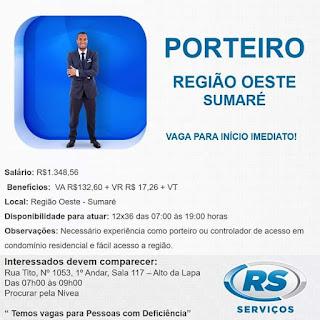 VAGA:PORTEIRO - REGIÃO OESTE - R$ 1.348,58 + BENEFÍCIOS