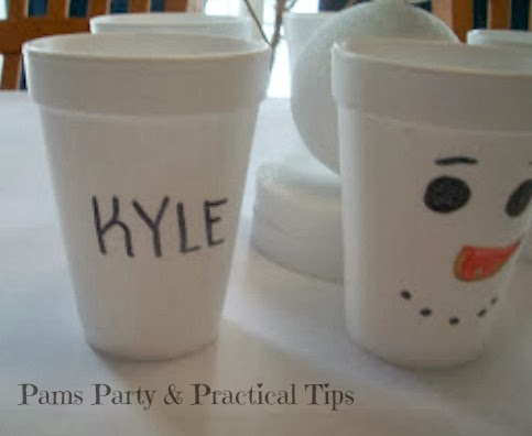 party cups with snowman faces for snowman party