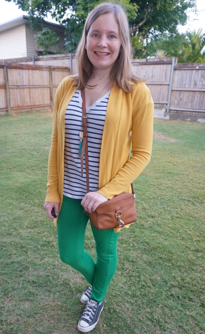 mustard cardigan green skinny jeans striped tee mum school run outfit winter colourful | away from blue