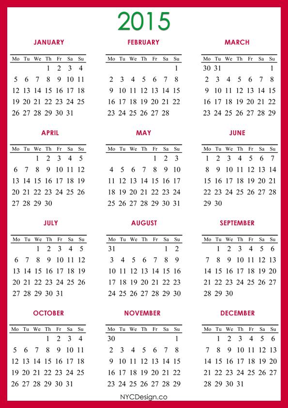 Pin New York Web Design Studio Ny 2015 Calendar Printable A4 picture to pinterest.