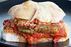 The 'Extraordinary' Frankies' Sputino Fried Eggplant Sandwich (New York Times)