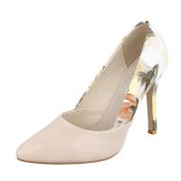 Pantofi eleganti, bej, cu imprimeu floral