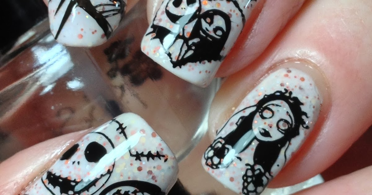Corpse Bride Nails Air Brushed