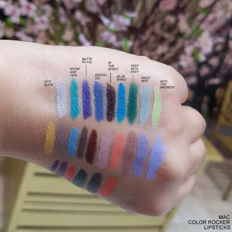 MAC Colour Color Rocker Lipsticks Spring 2017 Makeup Swatches City Slick Show and Teal Matte Royal Indigo-go In the Spirit Blue Bang Deep with Envy Night Mint Into the Madness