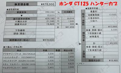 キャンプツーリング用に購入 ホンダ CT125ハンターカブ領収書