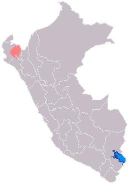 ⓐ Mapa del área de influencia de la Cultura Vicus en Perú