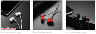 HOCO Earphone M42 Black Red Silver  ARMAILA DROPSHIPPER