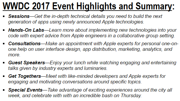WWDC 2017 Event Highlights and Summary