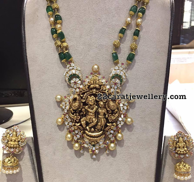 Emerald Beads Chain with Krishna Pendant
