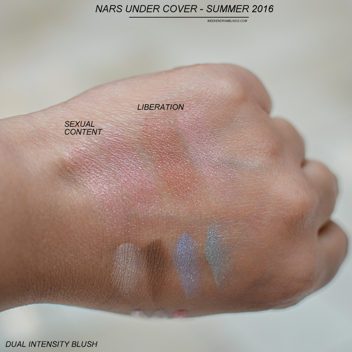 NARS Summer 2016 - Under Cover Makeup Collection - Swatches - Dual-Intensity Blush - Sexual Content - Liberation