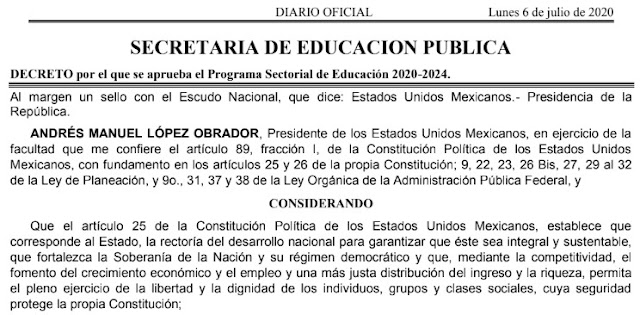 Programa Sectorial de Educación 2020-2024