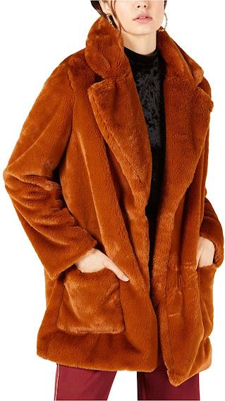 Brown Faux Fur Coats Jackets for Women