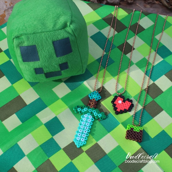 Minecraft necklaces made with perler beads, hama beads, melty beads, etc.