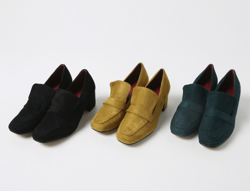 Block-Heeled Suede Moccasin Shoes