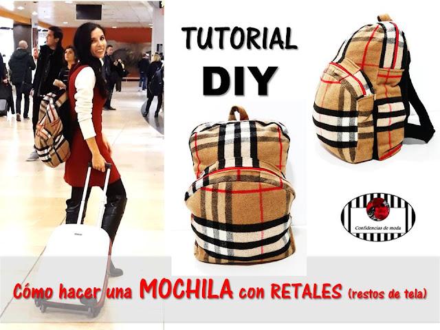 DIY. Cómo hacer una mochila (bolso) con retales (restos de tela)