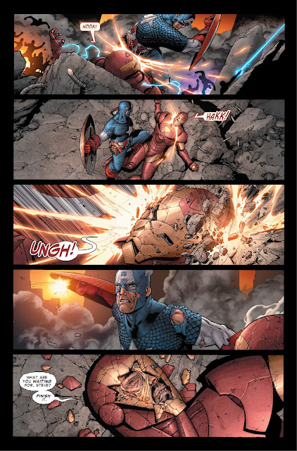 Captain America breaks the helmet of Ironman in Marvel's Civil War 2006 Issue #7.