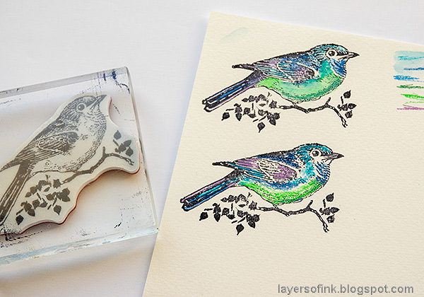 Layers of ink - Magical Nature Wall-Hanging Tutorial by Anna-Karin Evaldsson. Color the bird with watercolor pencils.
