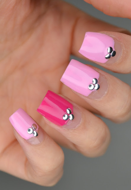 Pink Manicure with Studs Nail Art