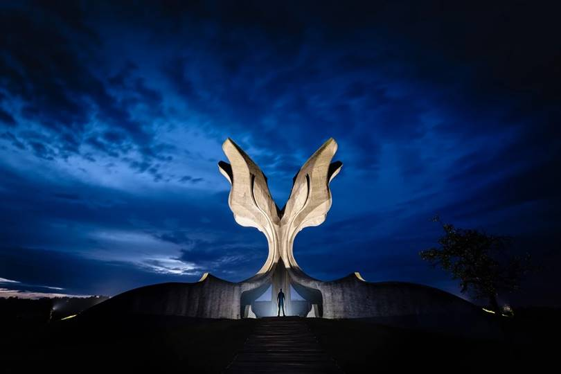 The stunning Stone Flower Monument in Croatia was built in 1966 and is dedicated to the victims of the atrocities committed in the Jasenovac concentration camp, a camp run by the Croatian government in alliance with Nazi Germany.