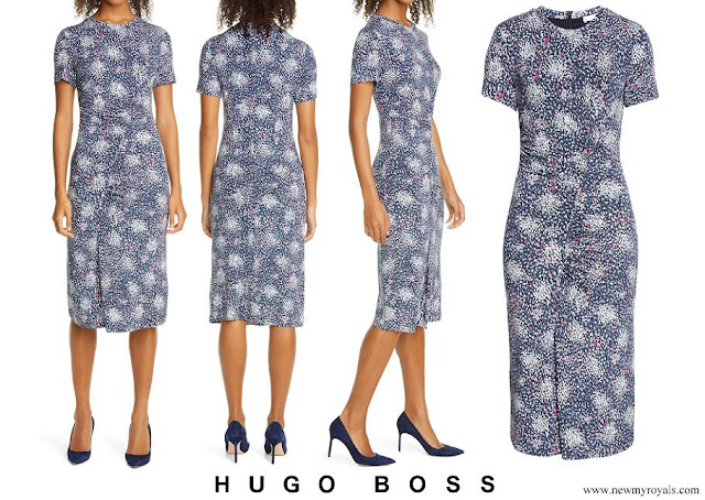 Queen Letizia wore Hugo Boss Enice ruched printed jersey dress