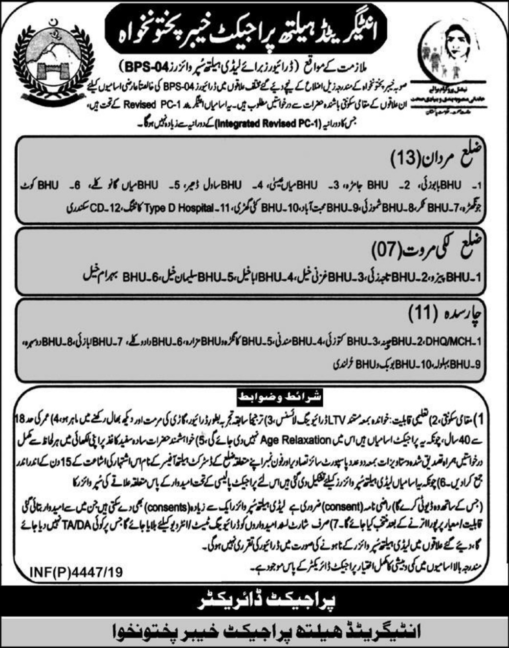 Integrated Health Project Khyber Pakhtunkhwa Jobs 2019