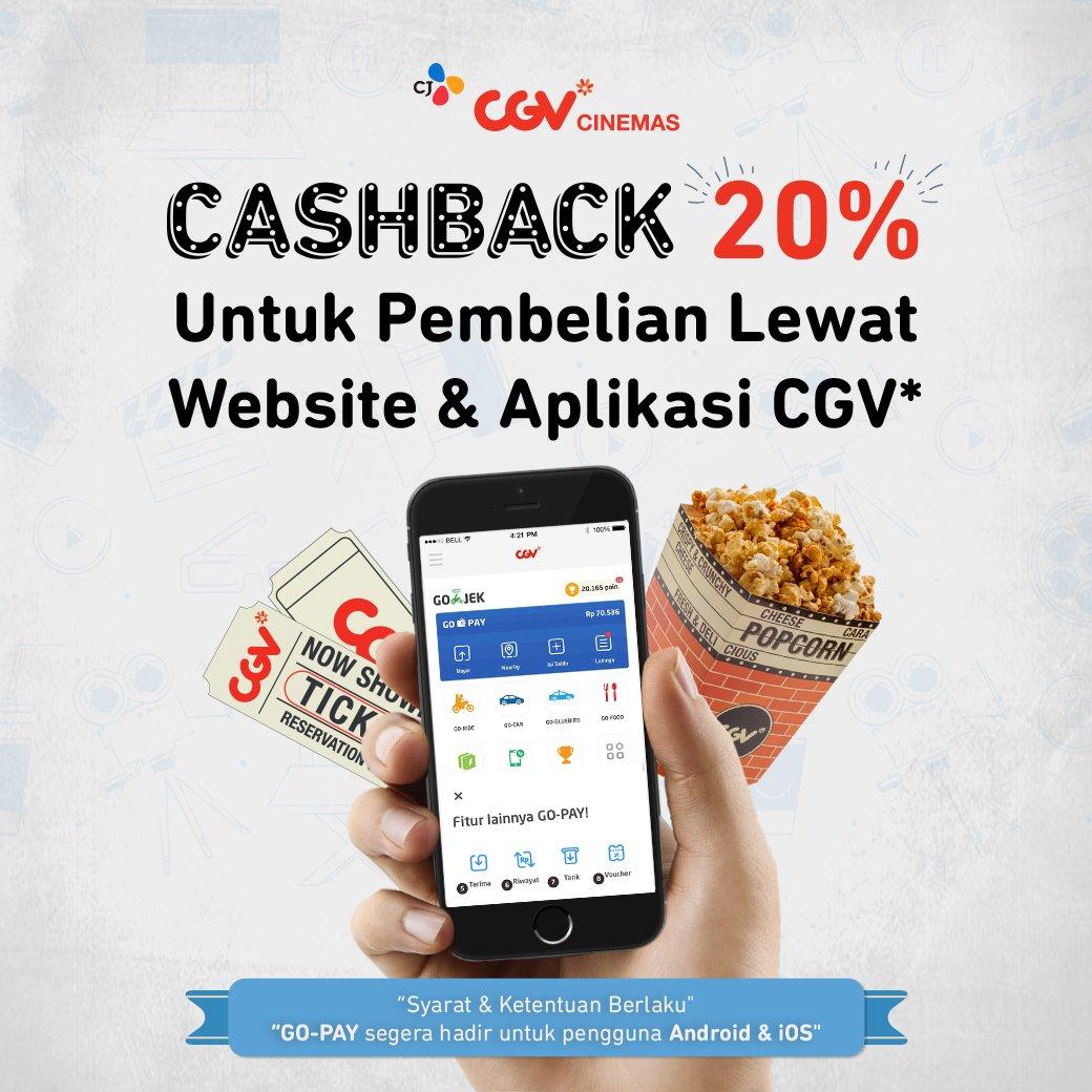 CGV - Promo Cashback 20% Beli Tiket di Website & Aplikasi CGV (s.d 23 Des 2018)