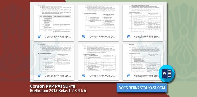 Contoh RPP PAI SD-MI Kurikulum 2013 Kelas 1 2 3 4 5 6