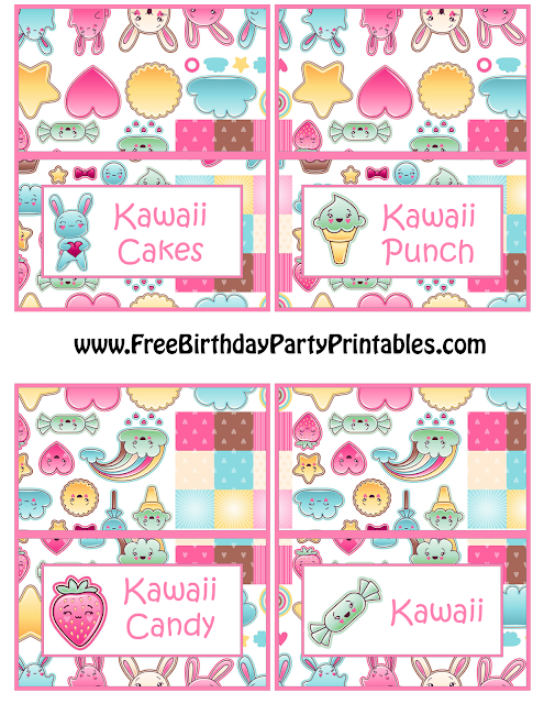Free Kawaii Birthday Party Printables-Food Tent Cards