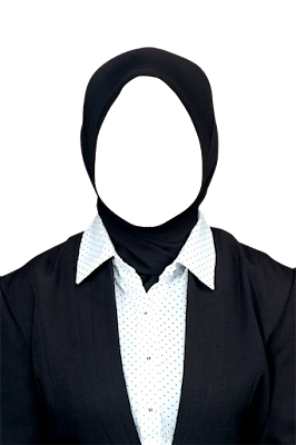 Contoh template jas wanita berjilbab png