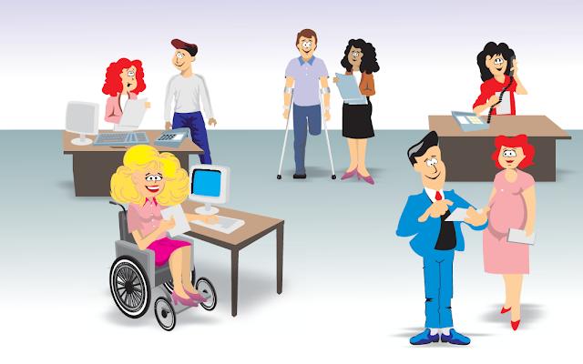 Imagem com pessoas com e sem deficiência em um ambiente de trabalho