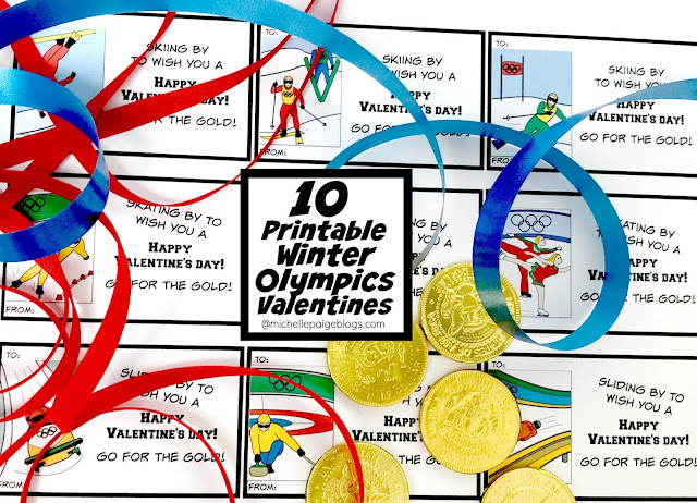 10 Printable Winter Olympics Valentines @michellepaigeblogs.com