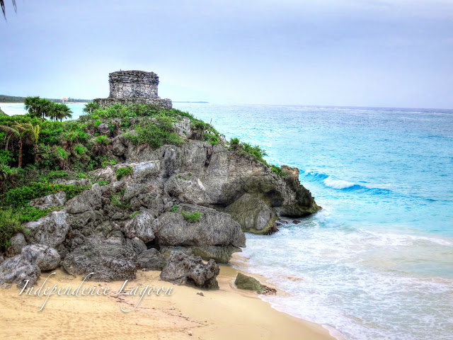 Ruins on beach at Tulum, Mexico