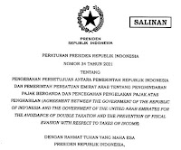 Agreement Between  The Government Of The Republic Of Indonesia And  The Government  Of The United Arab Emirates For The Avoidance Of Double  Taxation And The Prevention Of Fiscal Evasion With Respect To Taxes On Income