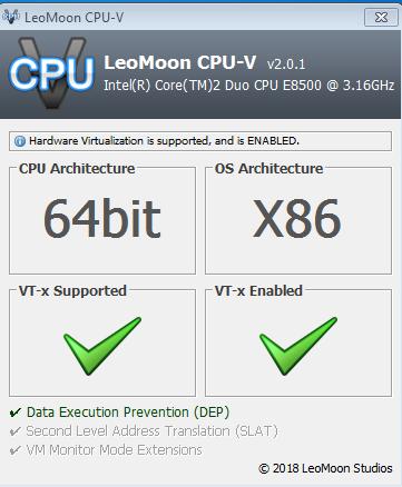 برنامج LeoMoon CPU-V  لمعرفة هل جهازك يدعم  تقنية المحاكاة الإفتراضية  tv
