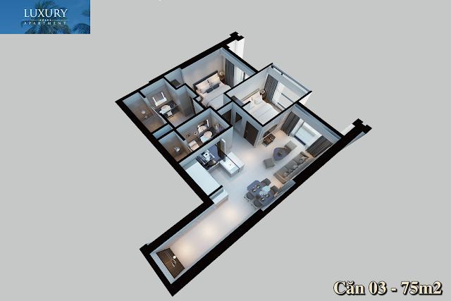Mặt bằng căn 03 dự án Luxury Apartment