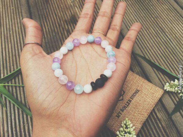 Bracelet tendance en pierres naturelles et pierre de lave My Roller Stone