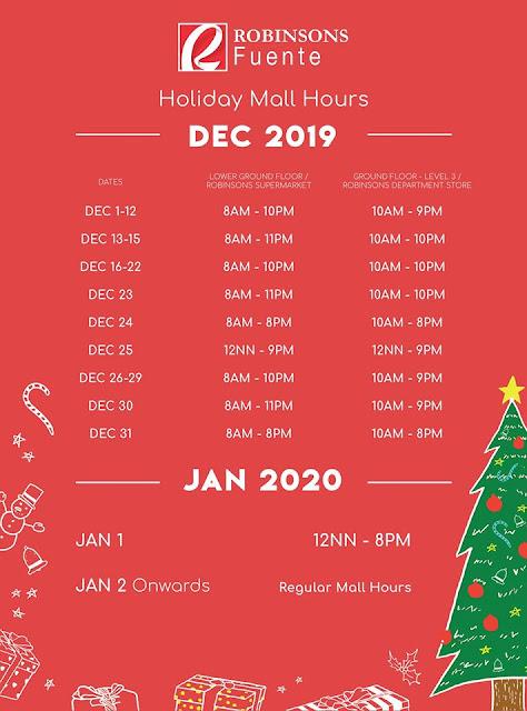 Robinsons Fuente Cebu Mall Hours 2019