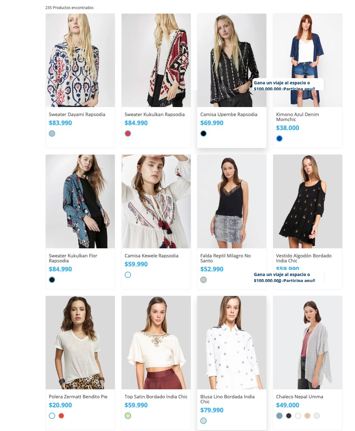Pantallazo de alternativas de Concept Store moda chilena en sitio web de Tiendas Paris
