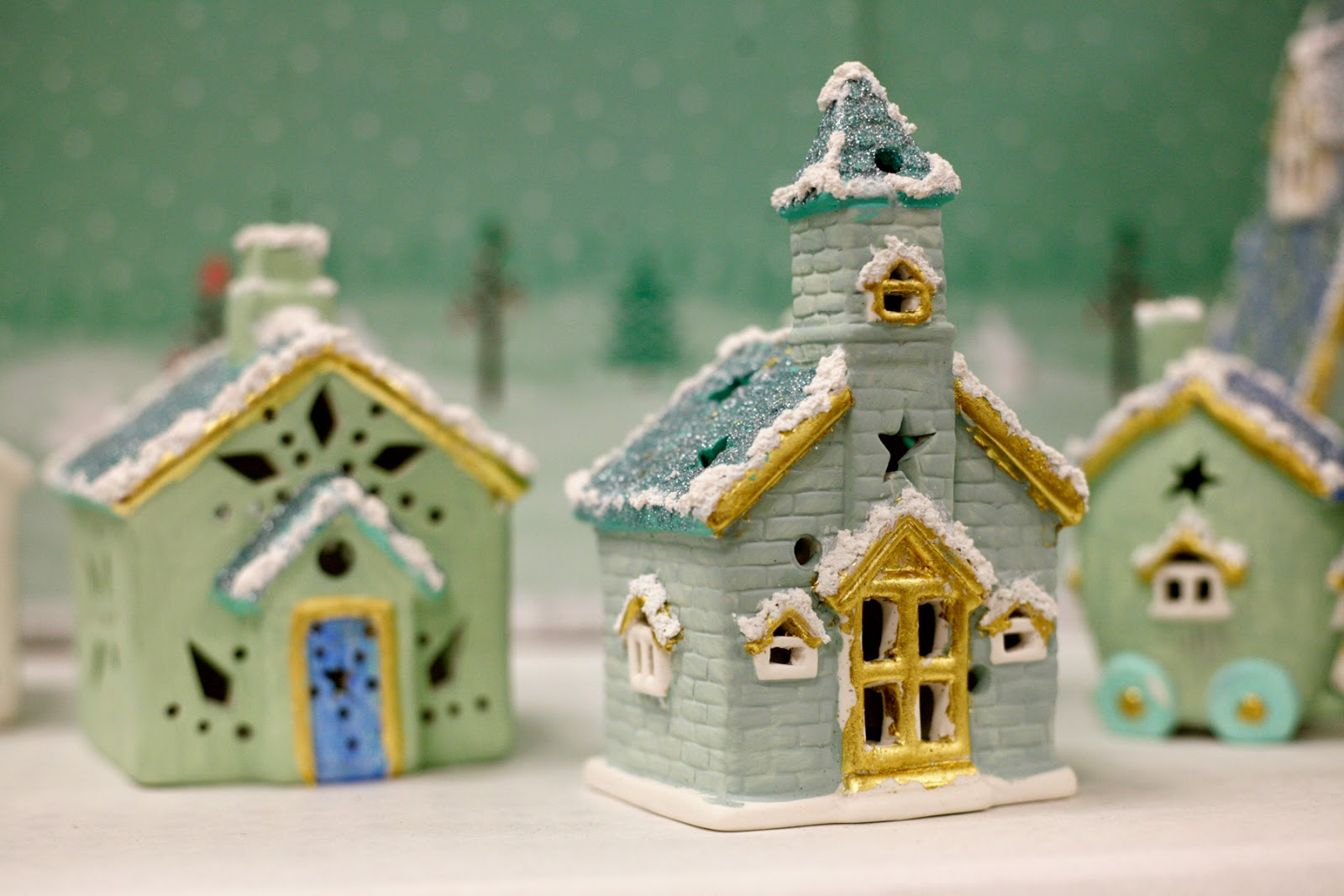Plaster christmas village houses to paint myideasbedroom com