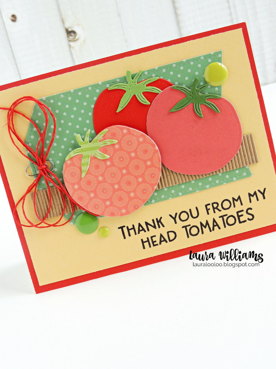 Thank You From My Head Tomatoes - adorable vegetable handmade cards with die cutting and sentiment stamps. Everyone you make cards for will love these cute veggies and coordinating sentiments. Stop by my blog for all the details, and more cute cards with stamps and dies from Impression Obsession!