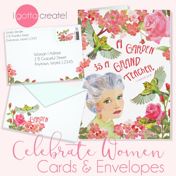Songbirds visit a romantic serene rose garden in this beautiful card with matching envelope and stamp by I Gotta Create!
