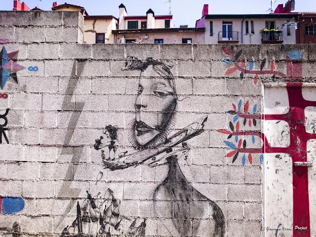 Mural en Cortes 28/30/32, por Void, Talavera, Remed y Laguna - Bilbao, por El Guisante Verde Project