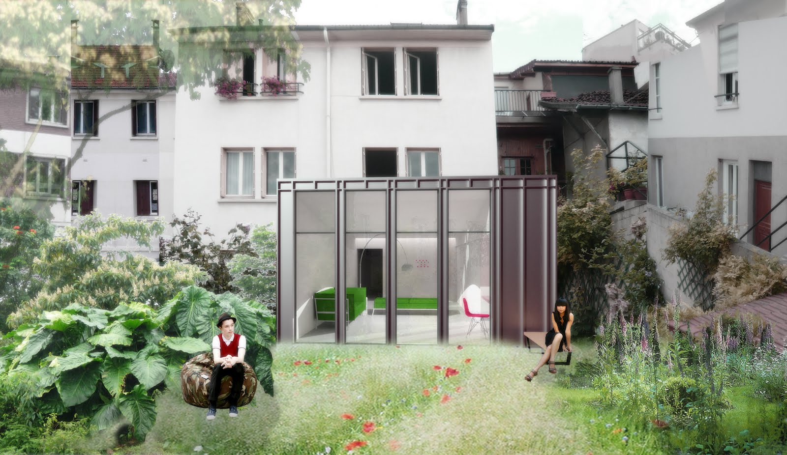 playground atelier d 39 architectures projet d 39 extension d 39 une maison mitoyenne. Black Bedroom Furniture Sets. Home Design Ideas