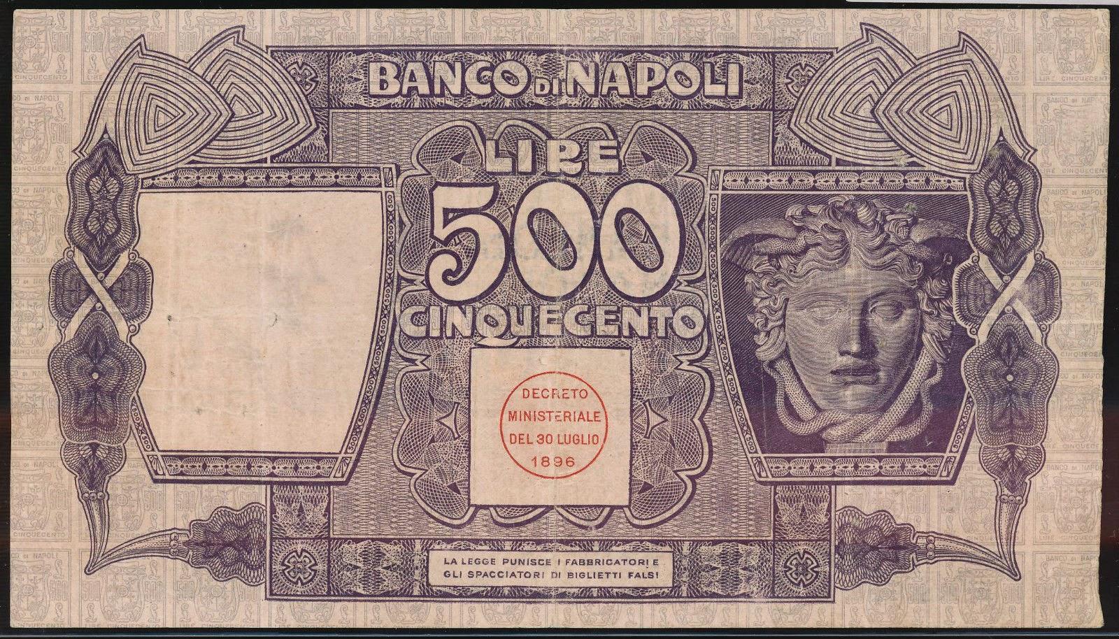 Italy paper money 500 Lire banknote Banco di Napoli