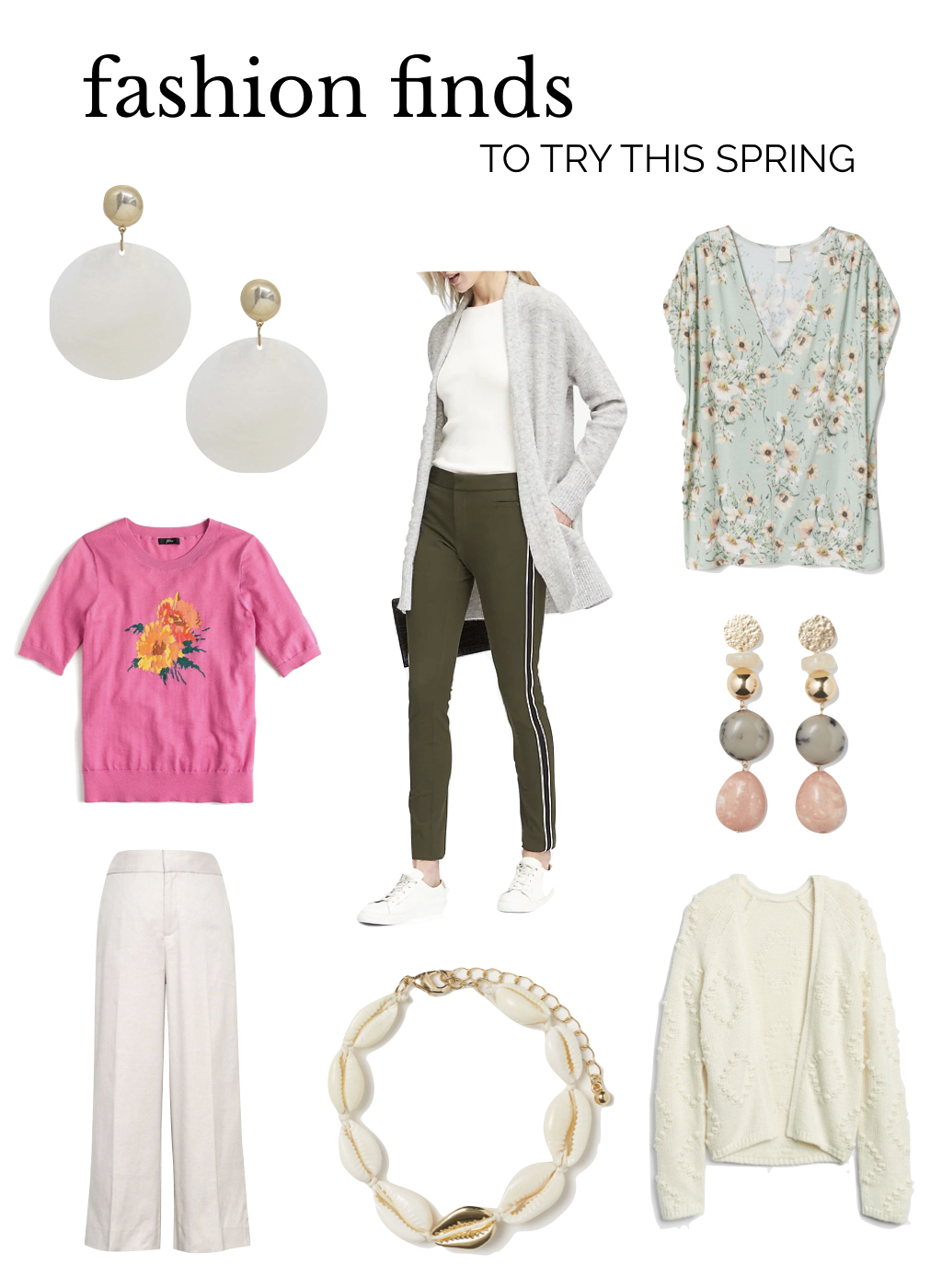 spring fashion 2019, new pant shapes, shell jewellry, floral fashion