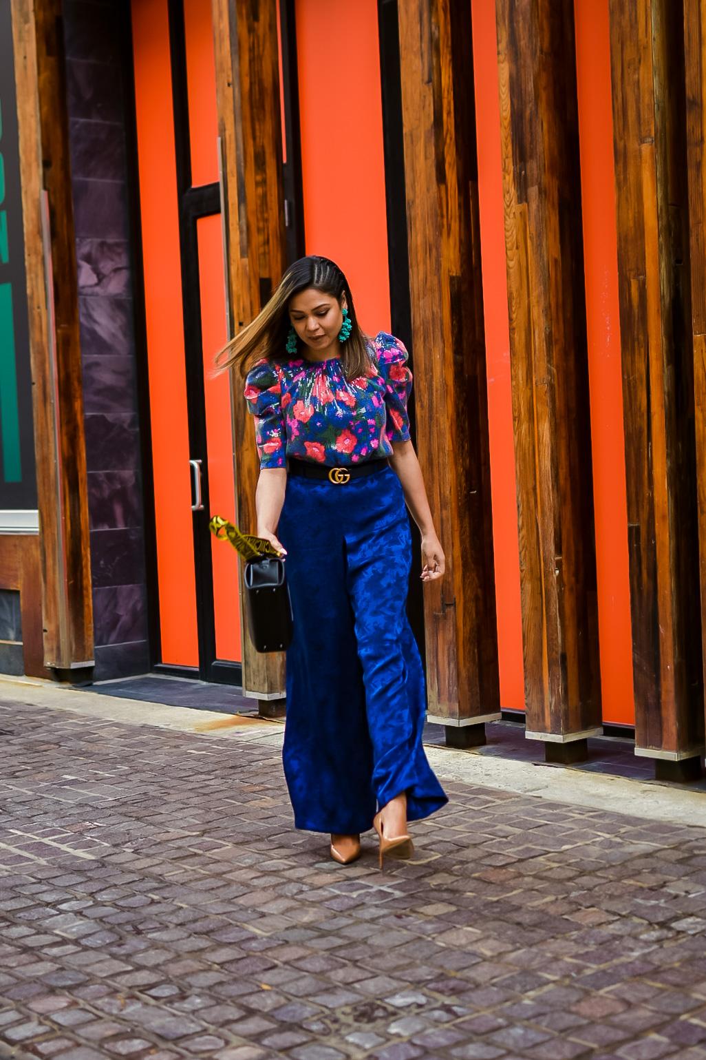 Monochromatic look, blue, sequin blouse, sachin and babi grape earrings, steve madden nude heels, broader hairstyle, gucci marmont belt. zara jacquard pants, myriad musings, saumya shiohare