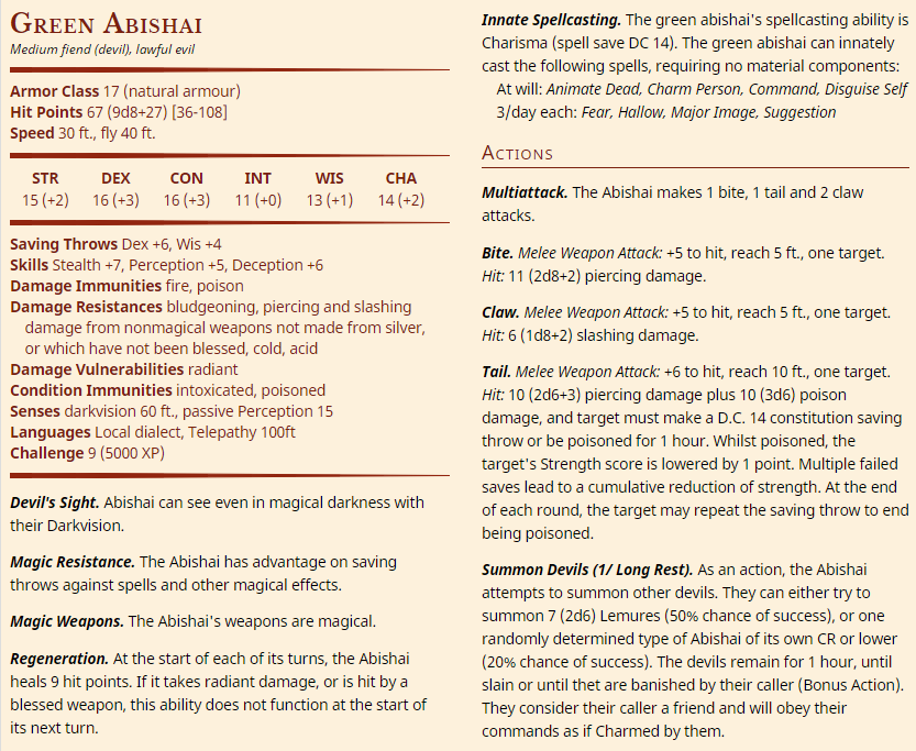 Abishai - Medium Fiend (CR 4-17)